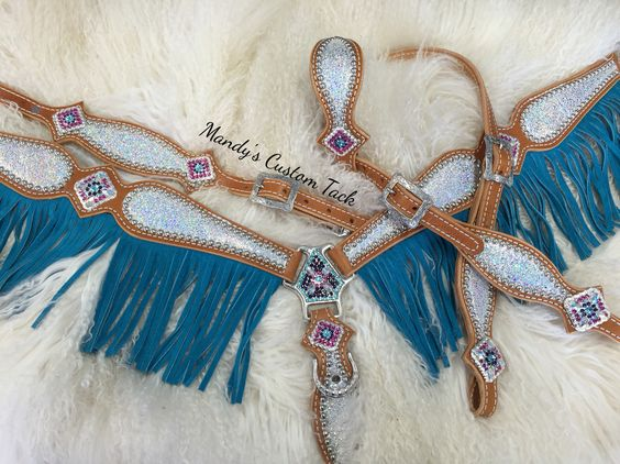 Fringe and sparkle. What could be better? Mandy's Custom Tack turquoise blue ice hide