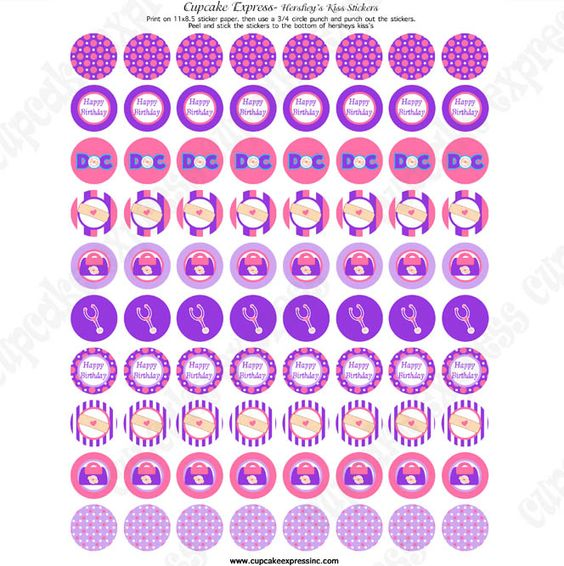 Doc mcstuffins inspired printable hershey 39 s kiss labels for Free hershey kisses labels template