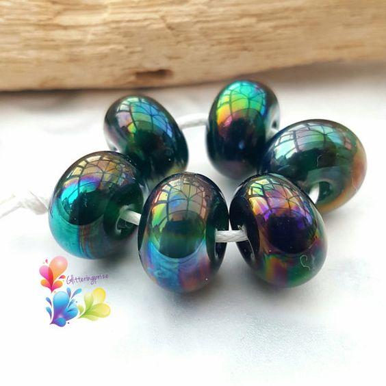 Lampwork Spacer Beads Metallic Rainbow Peacock