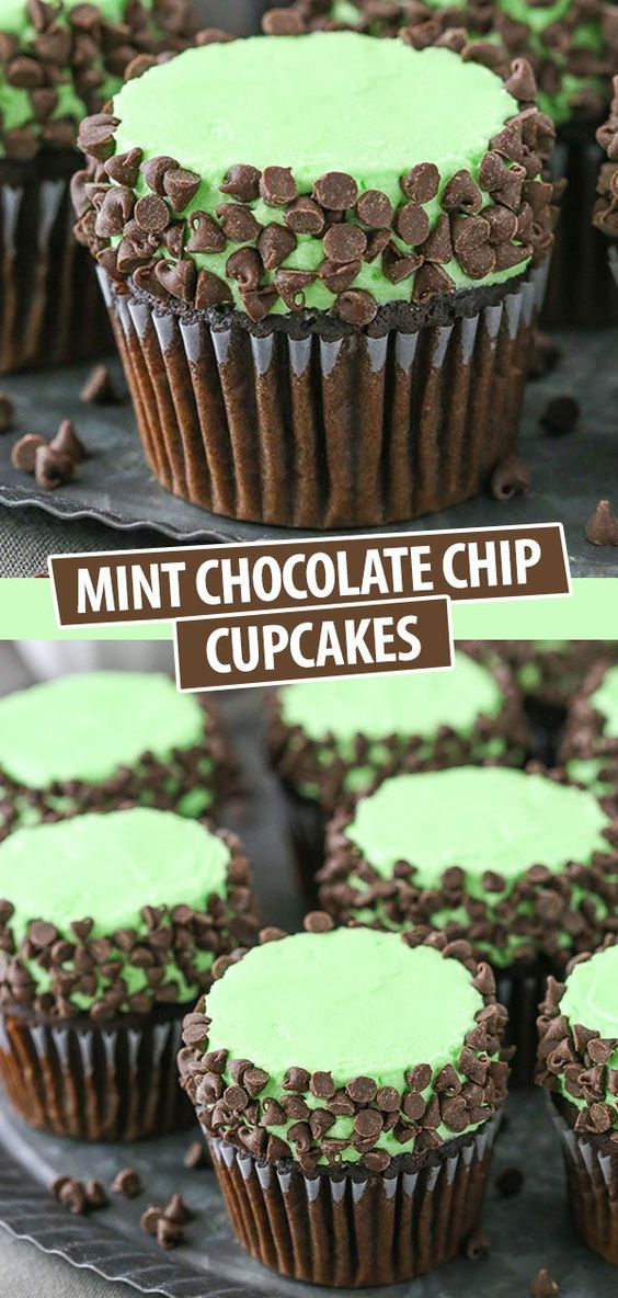 Mint Chocolate Chip Cupcakes | Fluffy Chocolate Cupcakes