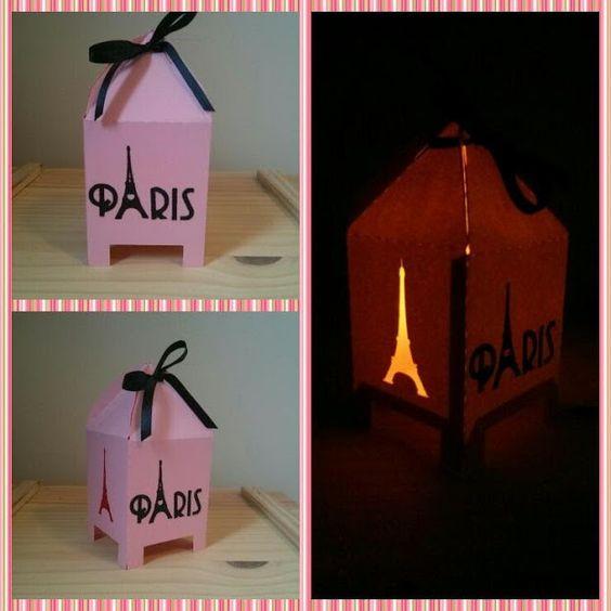 Linda e delicada caixinha lanterna Paris! <br>Feita com papel color plus 180 g, o produto acompanha a vela led. <br>Ideal para bem casados, bem vividos, bem nascidos e lembrancinhas em geral. <br>Faço outras cores, consulte-me!