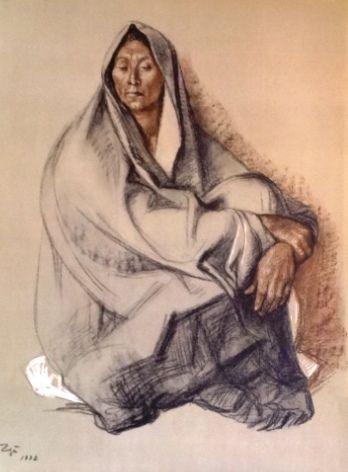"""Francisco Zuniga """"Mujer con rebozo sentada"""""""