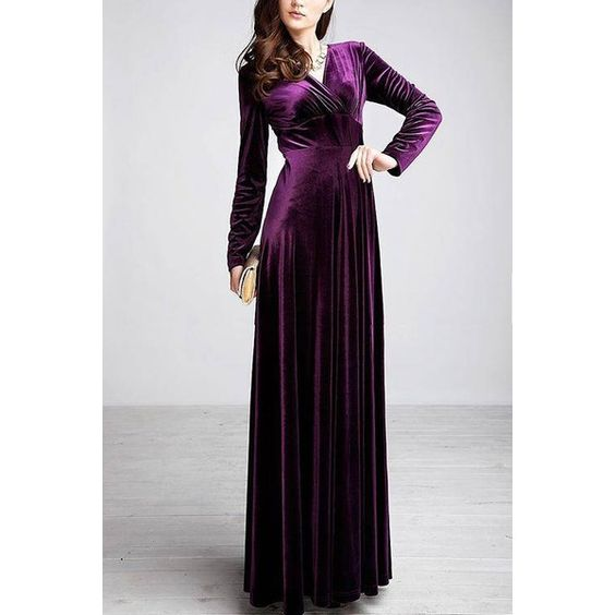 Yoins Purple Wrap Front Velvet Maxi Dress (£23) ❤ liked on Polyvore featuring dresses, purple, maxi dresses, ruched dress, rouched dress, velvet maxi dresses and sexy purple dresses