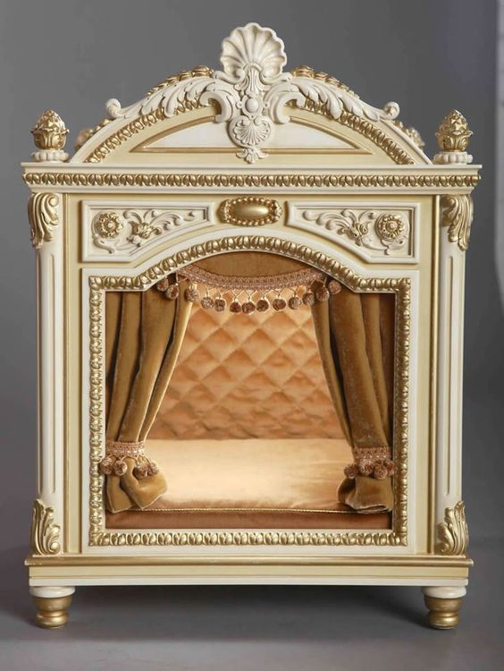 Fanciest dog bed with French inspired opulence! #dogbed Amazing Dog Houses and Adorable Puppies to Pin