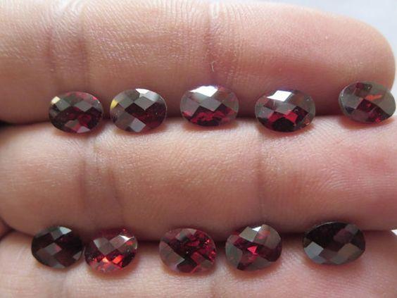NATURAL GARNET OVAL checker cut oval 6x8 mm red garnet by GEMSONLY