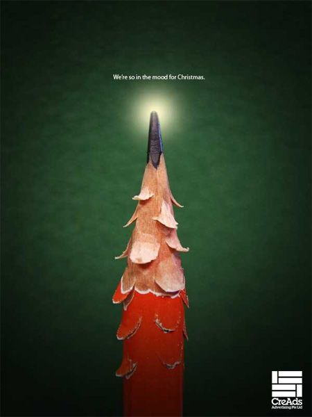 Creative Christmas trees from ad campaign for Publicis Singapore.: