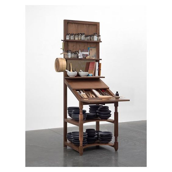Via whitecubeofficial #TheasterGates' artwork 'Meditation station for prayer and the contemplation of local knowledge' (2016) will be on #WhiteCube booth D3 @ArtBasel Miami Beach, opening next week. Comprised of a writing desk, the work houses objects collected and produced in Istanbul during Gates' presentation at the Istanbul Biennial in 2015. . Join Gates in Paris tonight for his artist talk and tomorrow, 1 December, as he performs 'Spiritual Transmissions from Gospel to Blues' both at 7pm @CentrePompidou, Paris. . Image: Theaster Gates, 'Meditation station for prayer and the contemplation of local knowledge' (2016) Mixed media. © Theaster Gates. Photo © Todd-White Art Photography Courtesy White Cube #WhiteCubeatABMB #ArtBaselMiamiBeach