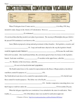 Printables Ratifying The Constitution Worksheet worksheet the constitution kerriwaller printables virginia words and places on pinterest this 2 page reading fill in