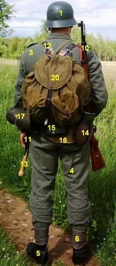 3º- Guerrera (Feldbluse) de color Fieldgrey (verde grisáceo alemán). Existieron tres modelos: M36, M43 y M44. En las fotos anteriores, es el modelo M43, sin el cuello de comor verde esmeralda oscuro.   4º- Pantalones (Keilhosen). En las fotos se puede ver el M42, para utilizar tanto con bota de media caña, como bota corta con polainas.