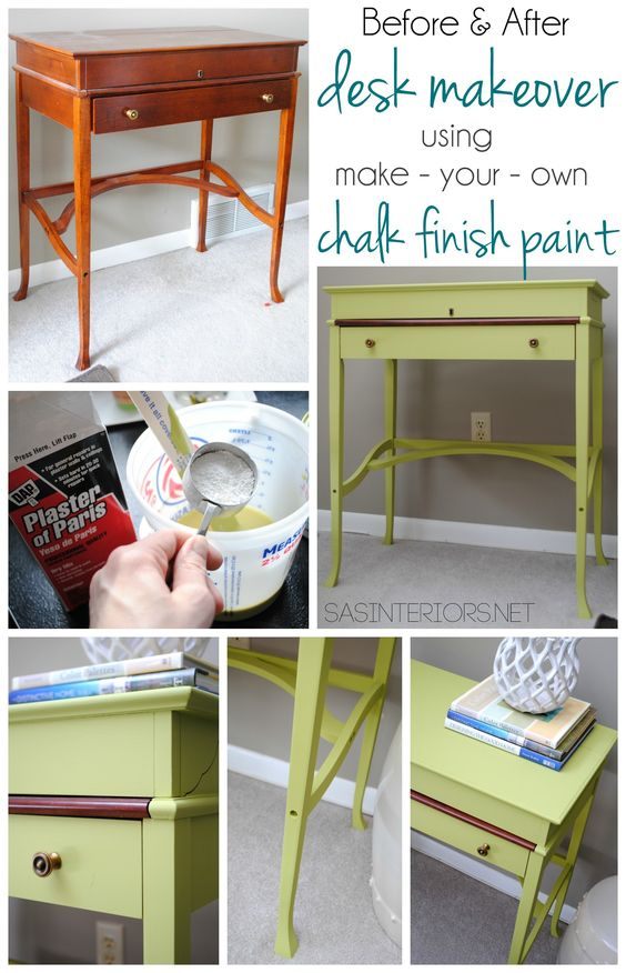 Before and after desk makeover using make your own chalk for Diy furniture transformations