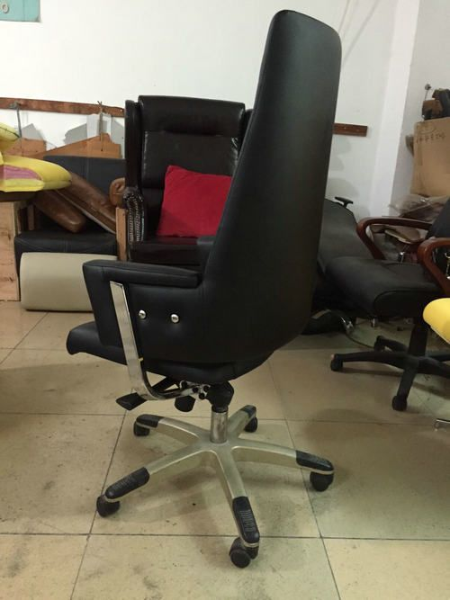 Black Leather Office Revolving Chair Height Adjustable Back Tilt Mechanism Whole Sale Factory 3 Revolving Chair Chair Height Chair