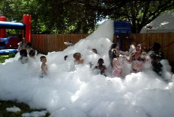 foam party, playing in this stuff at the local fire dept on a hot summer day