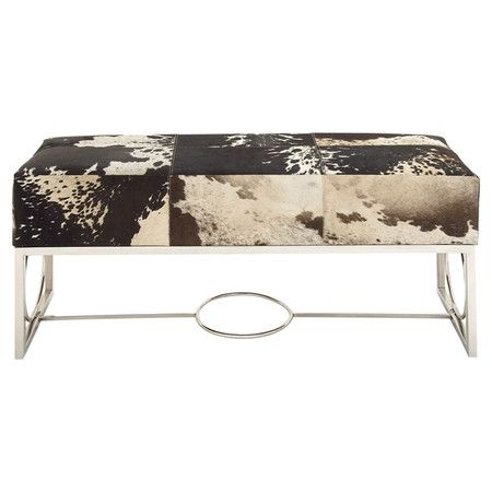 Showcasing a stainless steel base and leather upholstery, this stately bench is perfect paired with colorful toss pillows at the foot of your bed or in the e...