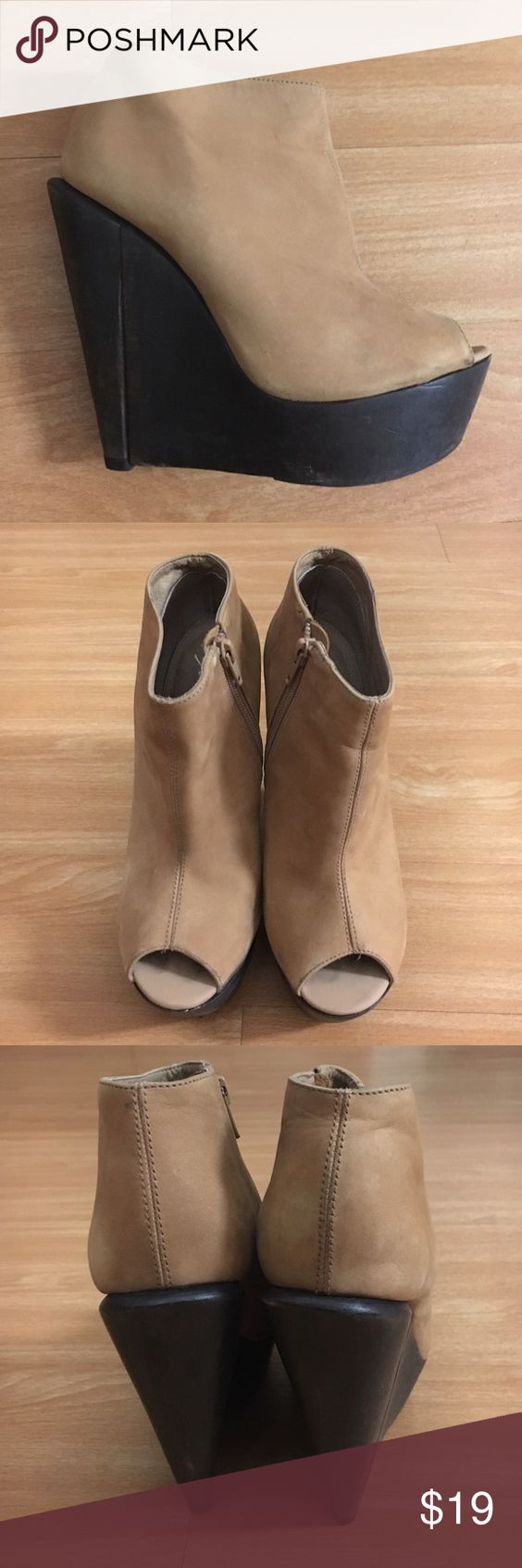 TOPSHOP Peep-toe Booties -size US 7.5/UK 5 /EUR 38 Fashionable ankle peep-toe booties by TOPSHOP. Dark wood 5 inch wedge, camel suede. Runs a bit small, I'm a true 7 and fits like a glove. Pre-owned, subtle signs of wear. Topshop Shoes Ankle Boots & Booties