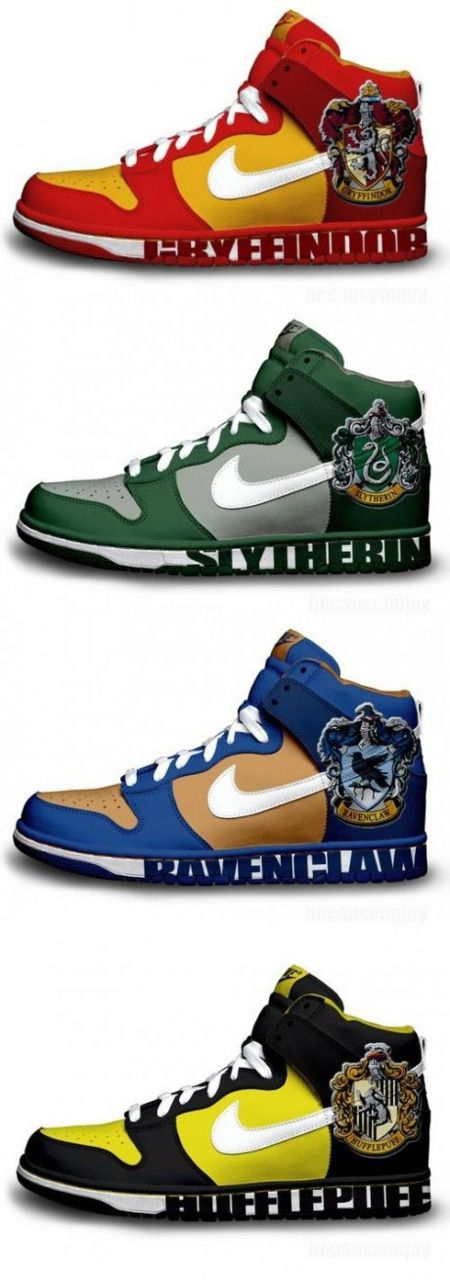 Harry Potter Kicks. These should exist. There is no good reason for these not to exist. Nike... Get your shit together and get on it. I'll take one of each. Except Hufflepuff.