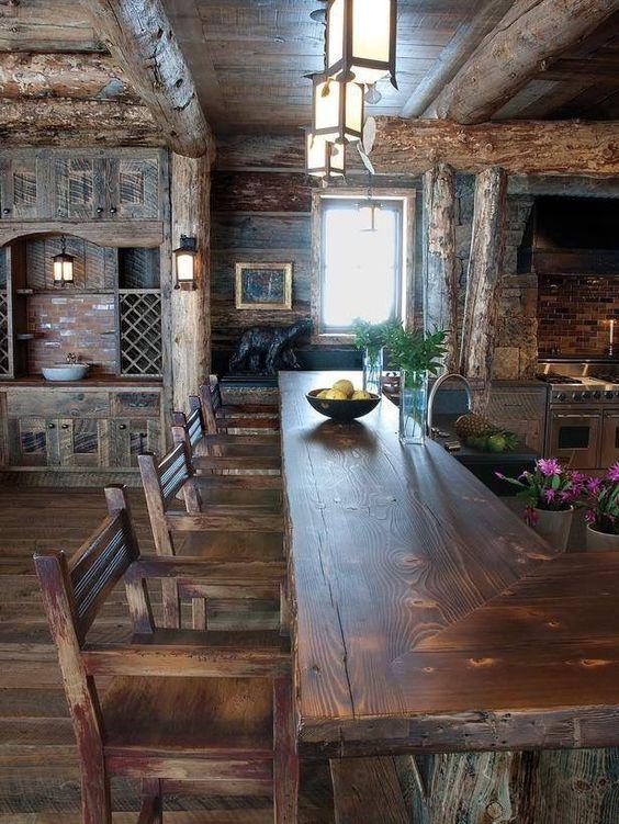 Cocinas Rusticas De Madera 6 Interiores De Cabanas Casas De Estilo Rustico Casas Rusticas