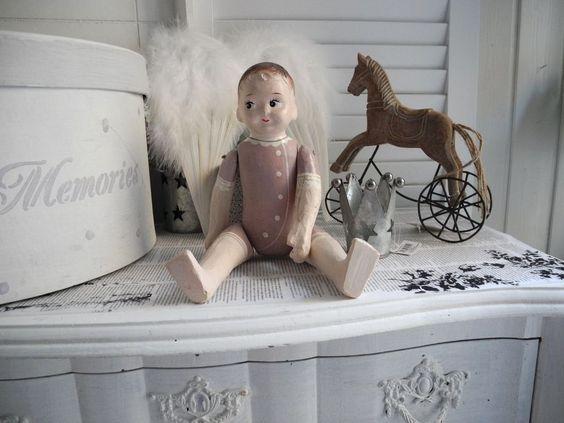 28cm Nostalgie Puppe alt antik Style shabby chic Deko Figur Kind Baby French