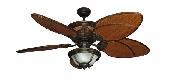 52 Moroccan Night Tropical Ceiling Fan In Weathered Brick With Light