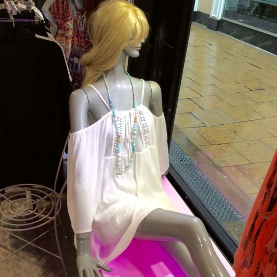 Ladies White Dress £29.00 Pranella Neckless £45.00 both instore and online at PinkCad www.pinkcadillac.co.uk