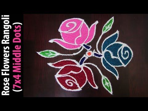 Rose Flowers Rangoli Design For Holi Festival 7x4 Middle Dots Kolam For Beginners Youtube Simple Rangoli Rangoli Designs Rangoli With Dots