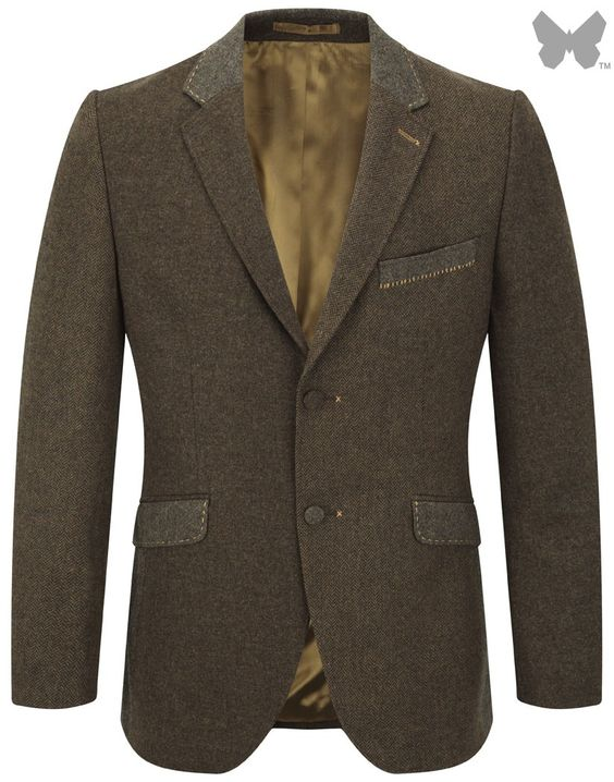 Holland Esquire Plain Lambswool Panel Mix Jacket - Brown | Country Attire