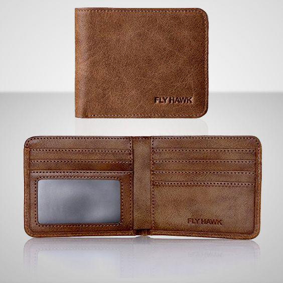 FlyHawk RFID Blocking Genuine Leather Wallets for Men Biford Mini&Slim Size Wallet
