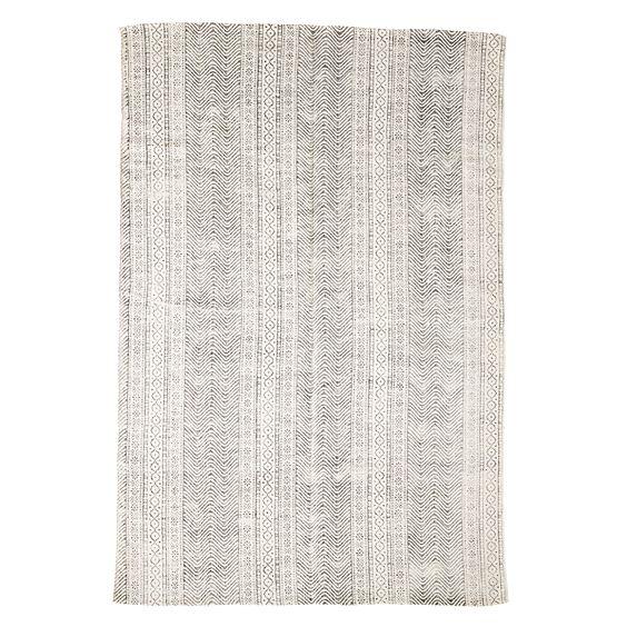 Material: 100% Baumwolle Größe: L180xB120cm Farbe: Natur / Grau-Schwarz