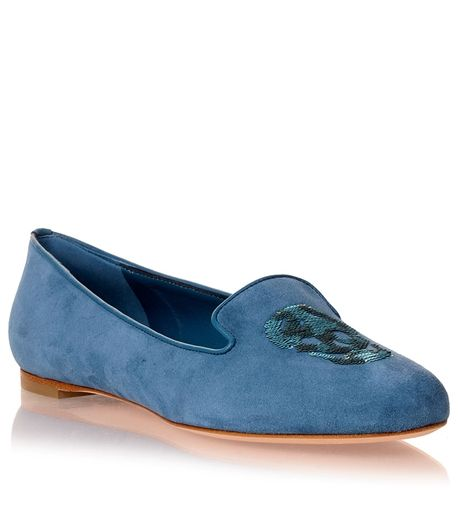 Blue suede skull flat Alexander McQueen - Designer Shoes at ShopSavannahs.com