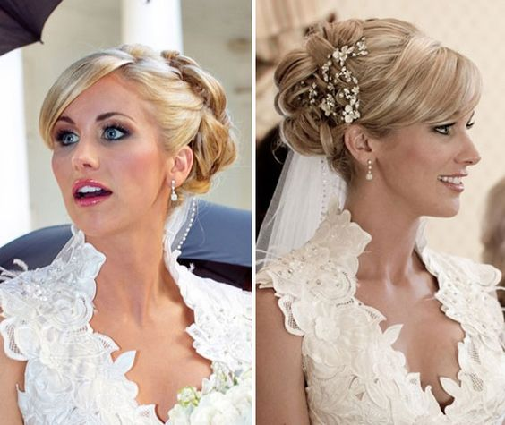 Art Candice Crawford wore her hair in a romantic and sleek updo. Her side swept bangs created a side part and her blonde locks were curled and then weaved together and pinned in a perfect bun. A jeweled hair pin completed the look. wedding