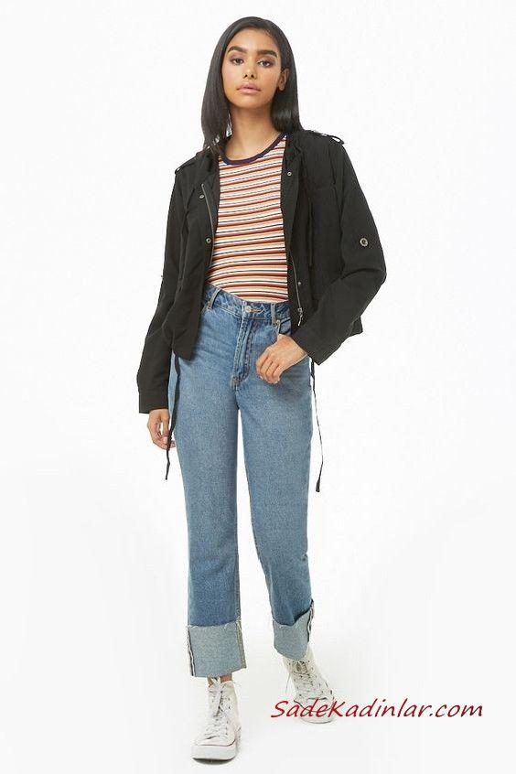 Bayan Pantolon Ceket Kombinleri Mavi Yuksel Bel Kot Pantolon Kahverengi Cizgili Bluz Siyah Kisa Spor Ceket Beyaz Converse Spor Ayakkabi Pantolon Moda Stilleri Moda