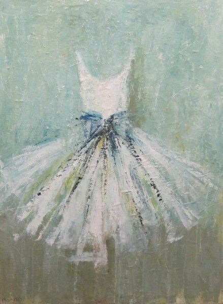 Beautiful white dress tutu painting with aqua background by Holly Irwin. Beautiful Souls Healing With Art: Holly Irwin