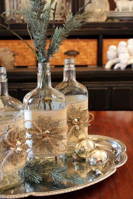 Decorar las botellas para la mesa de Navidad: