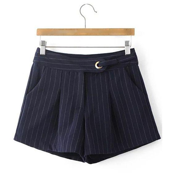 Navy Stripe Zipper Fly Pocket Shorts (27970 IQD) ❤ liked on Polyvore featuring shorts, zipper pocket shorts, navy shorts, pocket shorts, striped shorts and zipper shorts