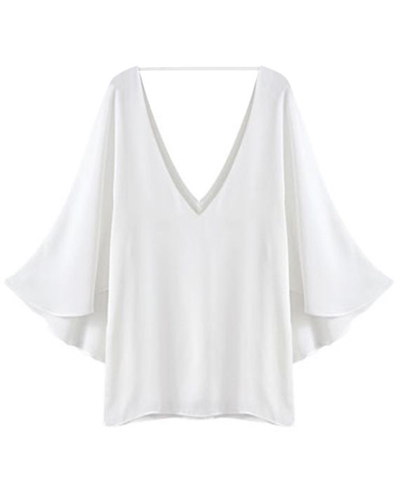 Flounce-sleeved Deep V-neck Loose Chiffon Shirt