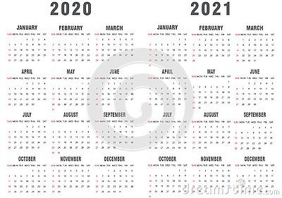 Gray And White 2020 2021 Calendar The Week Starts On Sunday