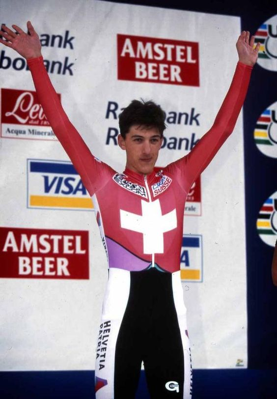 A 17-year-old Fabian Cancellara took gold in the junior time trial in 1998. He beat the likes of Pozzato, Creed, Wiggins, Eisel, Plaza, and Kiryienka (via Cyclingnews):