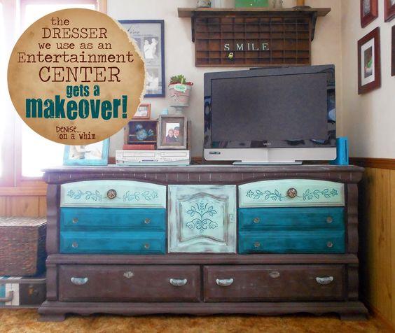 Gorgeous Dresser as Enertainment Center Makeover via http://deniseonawhim.blogspot.com