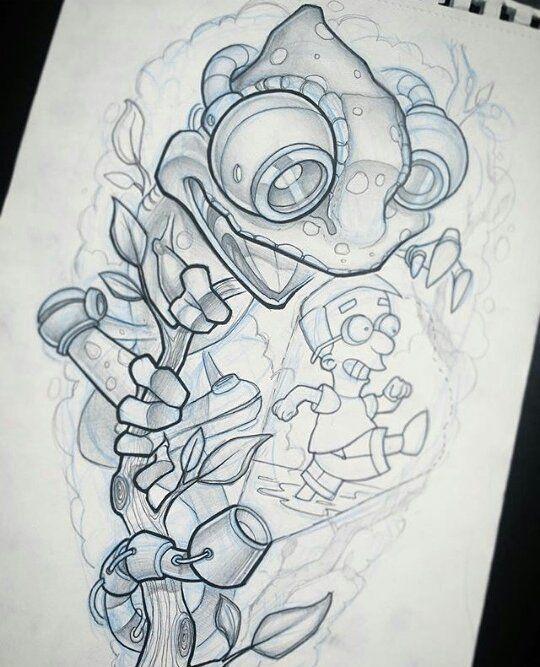 New School Tattoo Drawings New School Tattoo Badass Art