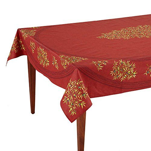 Clos Des Oliviers Rouge Rectangular French Tablecloth Uncoated Cotton 63 X 98 6 8 People French Tablecloths Table Cloth Tablecloths For Sale