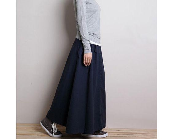 Cotton & Linen navy long skirt /Maxi skirt by kunniestore on Etsy ...