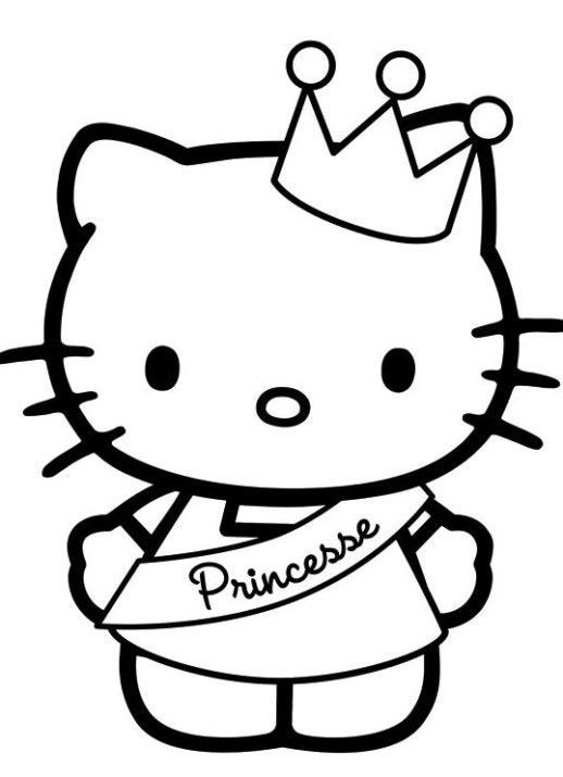 Hello Kitty Princess Coloring Pages In 2020 Hello Kitty