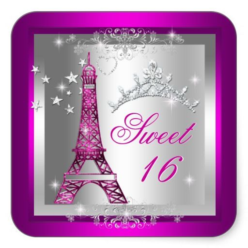 Sweet 16 Sweet Sixteen Pink Tiara Eiffel Tower Square Stickers by zizzago.com