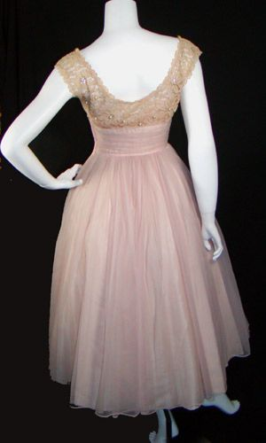 Ballerina Pink 1950s lace and Chiffon party dress - back view