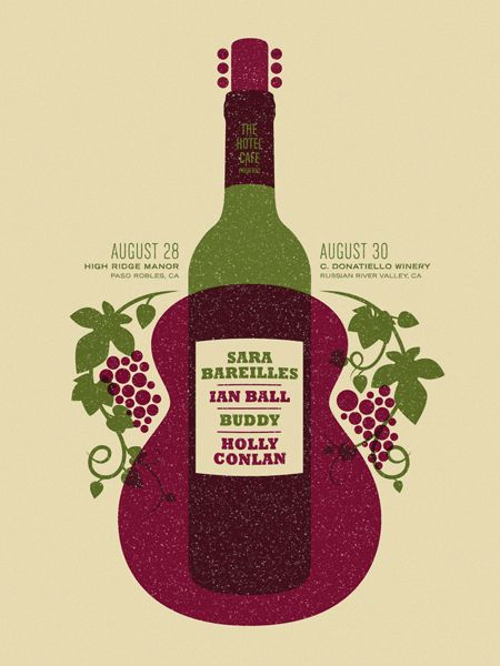 vector gig poster, wine bottle and guitar #graphic #design #layout