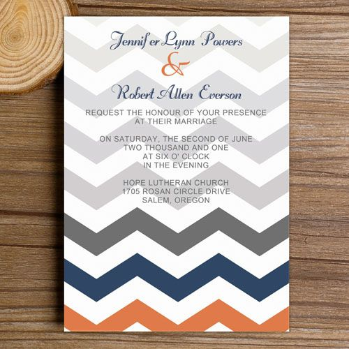 "orange navy and gray ombre colored chevron wedding invitations//Use coupon code ""rpin"" to get 10% off towards all the invitations. #elegantweddinginvites"