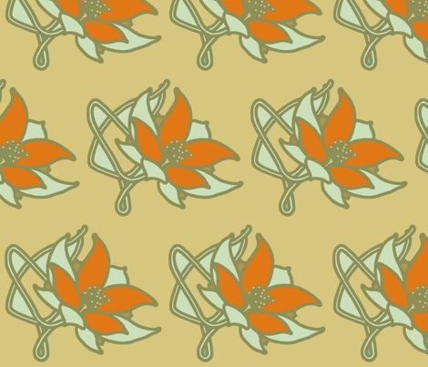 art_nouveau_orange_and_blue fabric by holli_zollinger on Spoonflower - custom fabric
