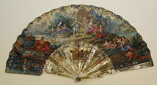 Fan 18th century French paper, mother-of-pearl: