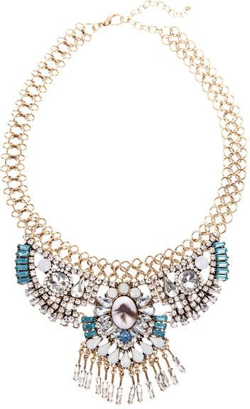 t+j Designs Deco Crystal Sun Ray Necklace