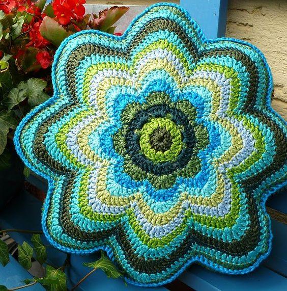 Crocheted flower cushion. #crochet