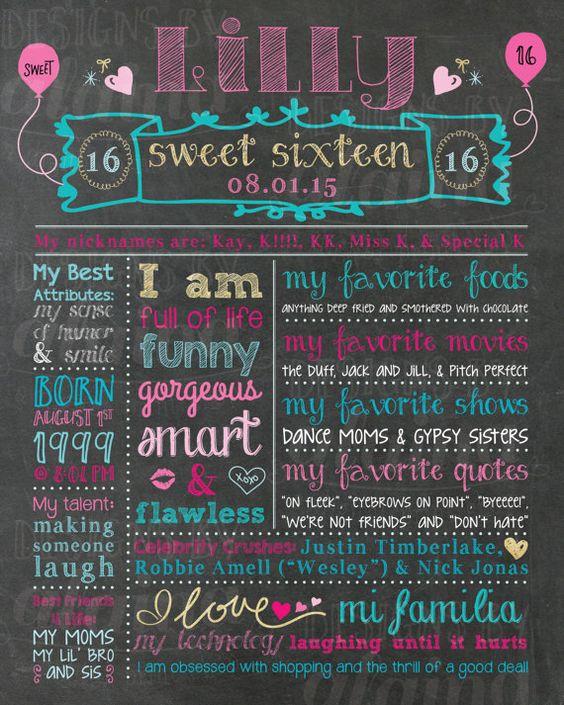 Happy 16th Birthday Gift Ideas Spaceform Sweet Sixteen: Sweet 16 Birthday, Chalkboards And Memories On Pinterest